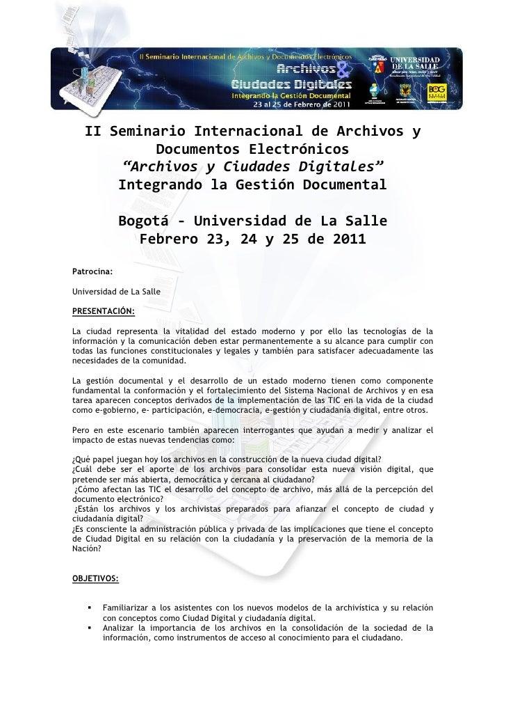 """II Seminario Internacional de Archivos y            Documentos Electrónicos        """"Archivos y Ciudades Digitales""""       I..."""