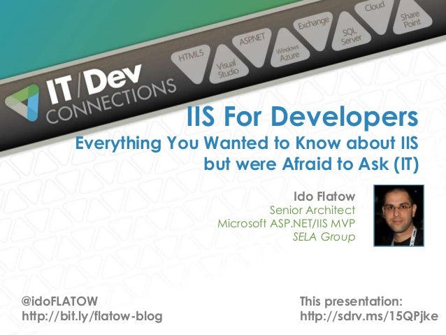 Ido Flatow Senior Architect Microsoft ASP.NET/IIS MVP SELA Group IIS For Developers Everything You Wanted to Know about II...