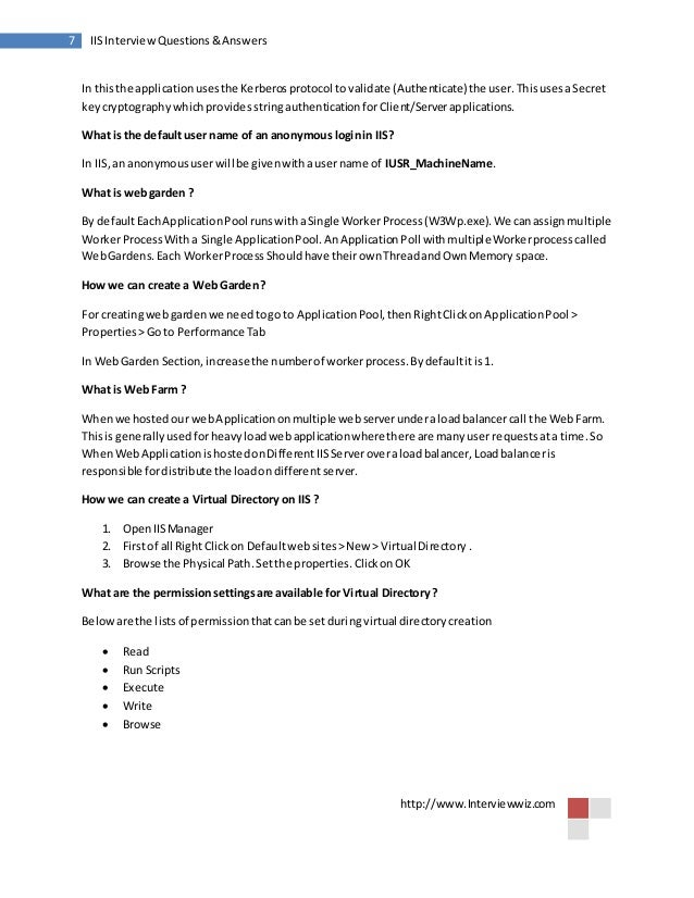 Iis interview questions and answers windowsintegratedmethod 7 sciox Gallery