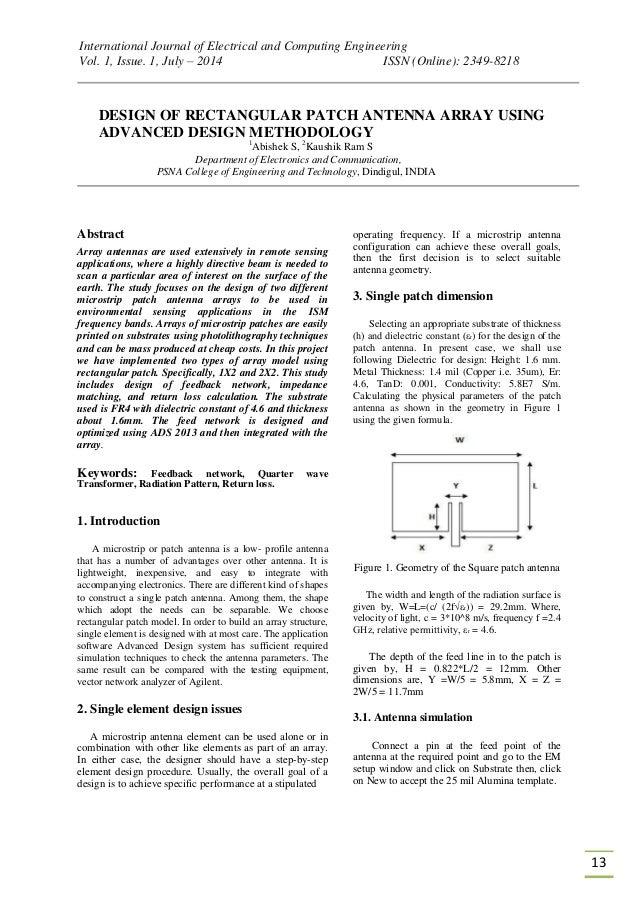 Design of rectangular patch antenna array using advanced