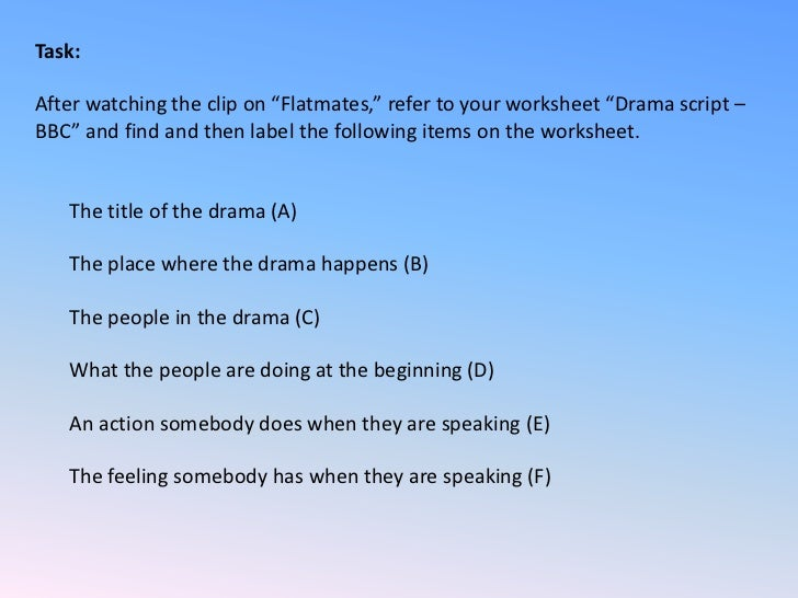 how to create a drama script