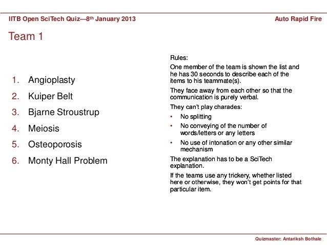 IITB Open SciTech Quiz—8th January 2013                                          Auto Rapid FireTeam 1                    ...