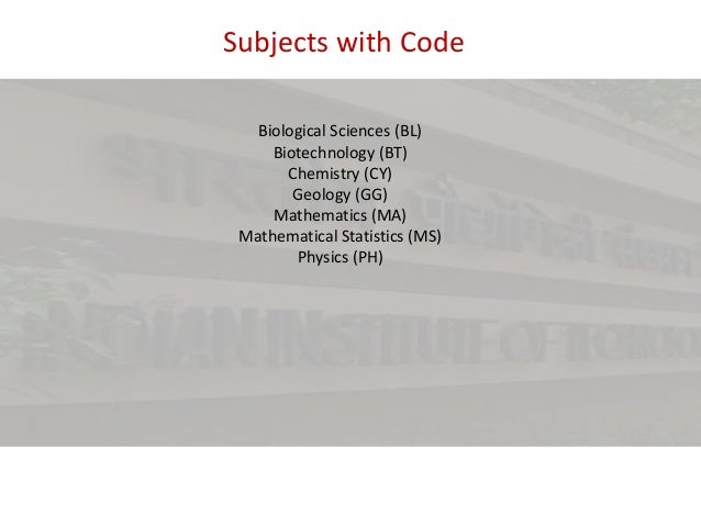 Subjects with Code Biological Sciences (BL) Biotechnology (BT) Chemistry (CY) Geology (GG) Mathematics (MA) Mathematical S...