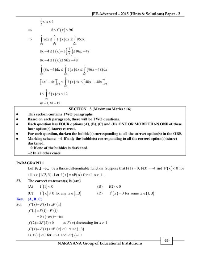 IIT JEE adv-2015 question paper-2, hints & solutions