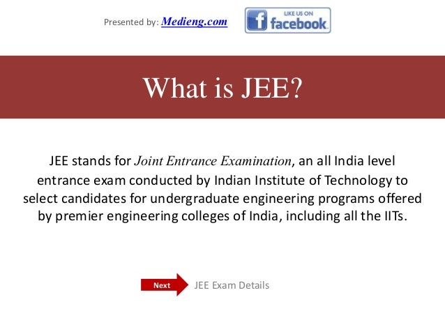 JEE stands for Joint Entrance Examination, an all India level entrance exam conducted by Indian Institute of Technology to...