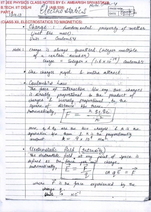 Electrostatics pdf jee