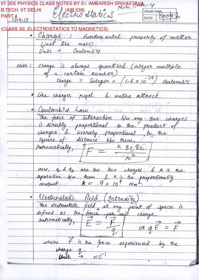 IIT JEE PHYSICS CLASS NOTES BY Er  AMBARISH SRIVASTAVA PART 4