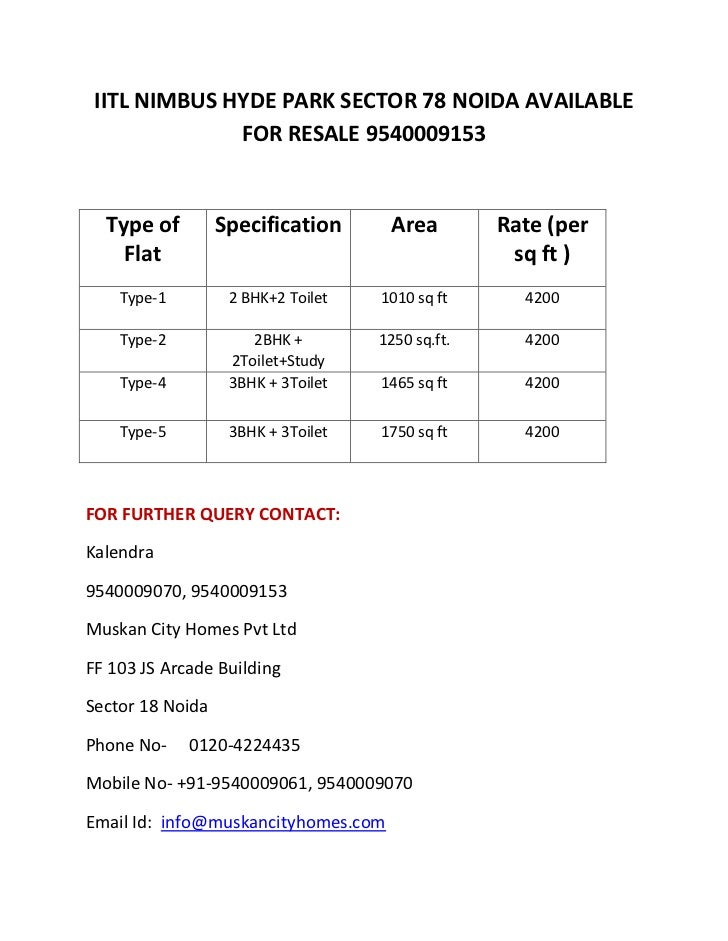 Iitl nimbus hyde park sector 78 available for resale