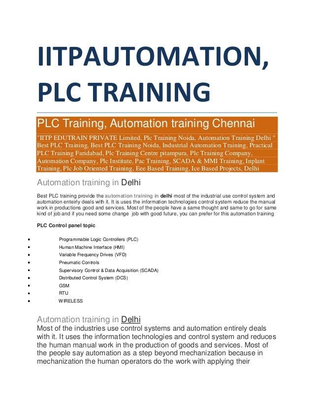 "IITPAUTOMATION, PLC TRAINING PLC Training, Automation training Chennai ""IITP EDUTRAIN PRIVATE Limited, Plc Training Noida,..."