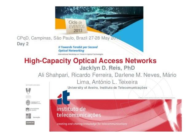 Jacklyn D. Reis, PhD CPqD, Campinas, São Paulo, Brazil 27-28 May 2013 Day 2 High-Capacity Optical Access Networks © 2005, ...