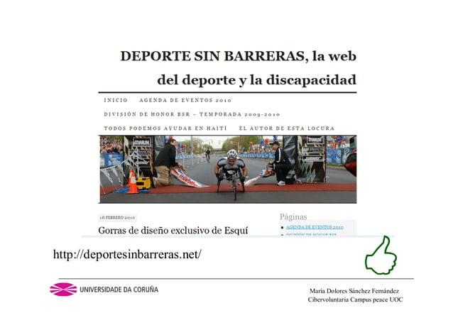 Cibervoluntaria Campus peace UOCMaría Dolores Sánchez Fernándezhttp://deportesinbarreras.net/