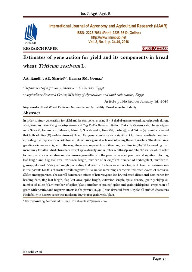 Int. J. Agri. Agri. R. Kandil et al. Page 34 RESEARCH PAPER OPEN ACCESS Estimates of gene action for yield and its compone...