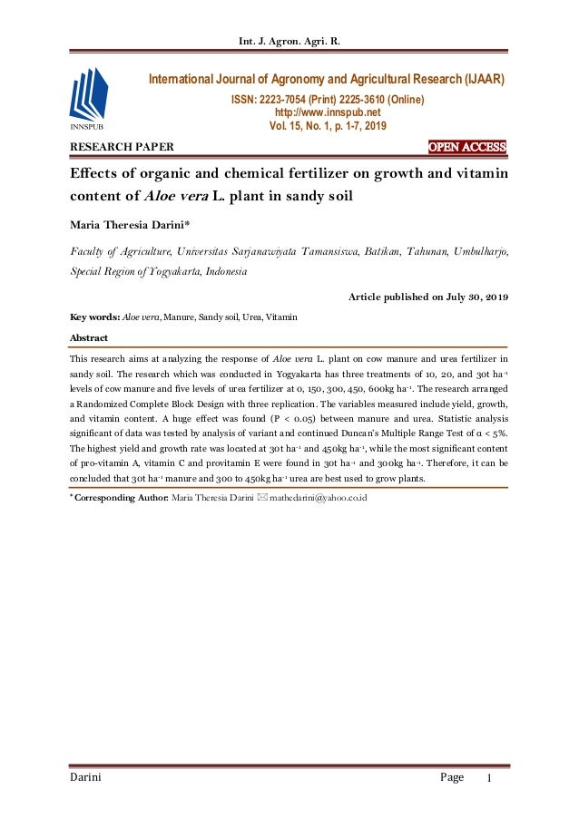 Int. J. Agron. Agri. R. Darini Page 1 RESEARCH PAPER OPEN ACCESS Effects of organic and chemical fertilizer on growth and ...