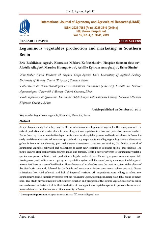 Int. J. Agron. Agri. R. Agoyi et al. Page 30 RESEARCH PAPER OPEN ACCESS Leguminous vegetables production and marketing in ...