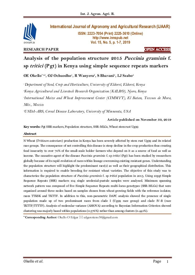 Int. J. Agron. Agri. R. Okello et al. Page 1 RESEARCH PAPER OPEN ACCESS Analysis of the population structure 2015 Puccinia...