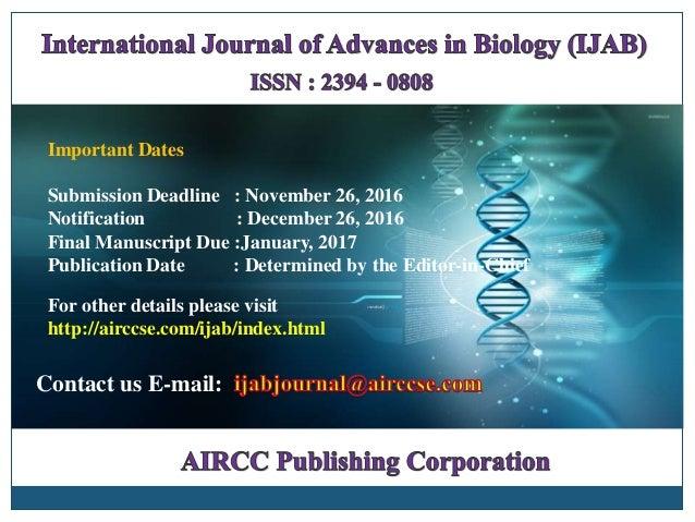 Important Dates Submission Deadline : November 26, 2016 Notification : December 26, 2016 Final Manuscript Due :January, 20...