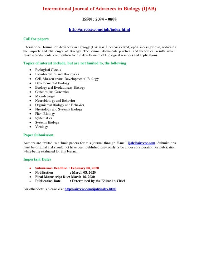 International Journal of Advances in Biology (IJAB) ISSN : 2394 – 0808 http://airccse.com/ijab/index.html Call for papers ...