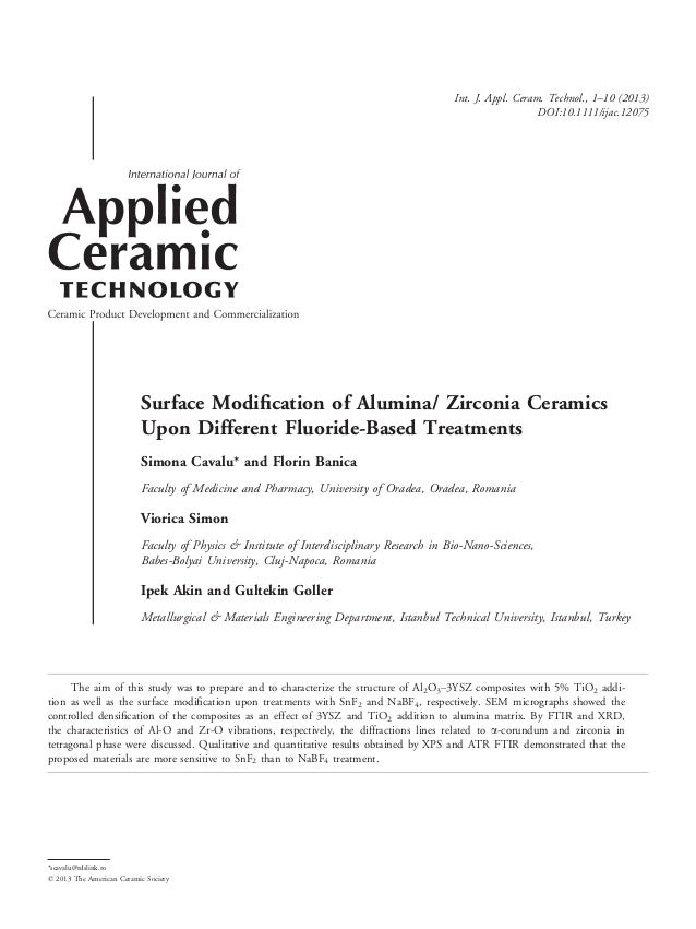 Surface Modification of Alumina/ Zirconia Ceramics Upon Different Fluoride-Based Treatments Simona Cavalu* and Florin Banic...
