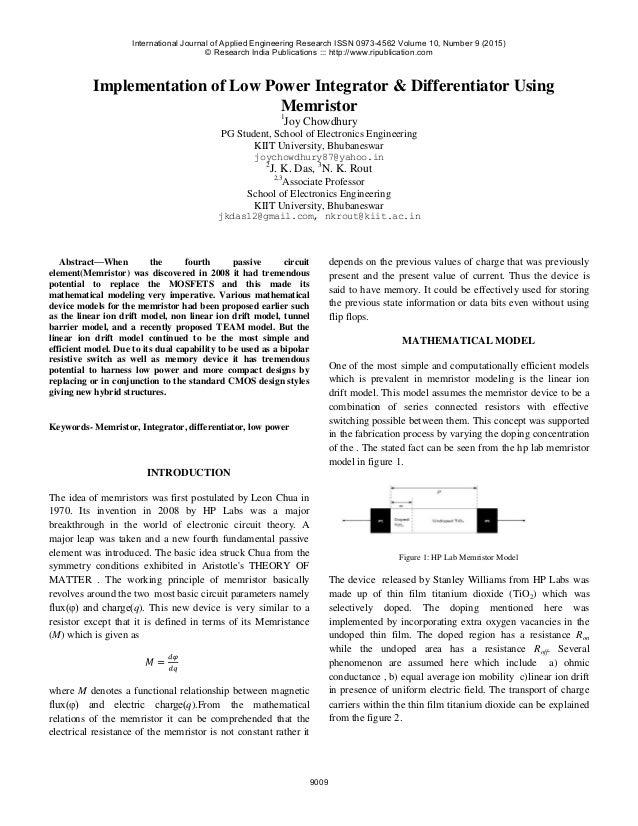 Implementation of Low Power Integrator & Differentiator Using Memristor 1 Joy Chowdhury PG Student, School of Electronics ...