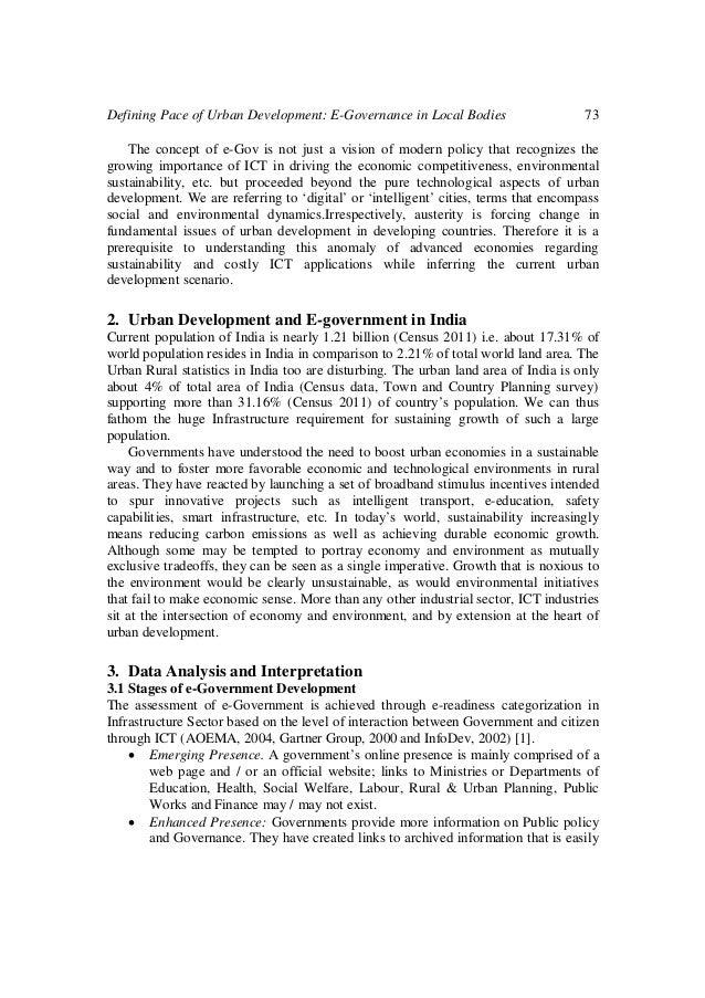 Defining Pace of Urban Development: E-Governance