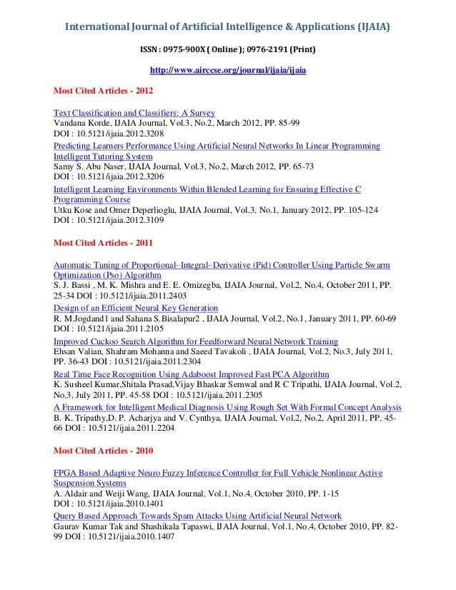 International Journal of Artificial Intelligence & Applications (IJAIA) ISSN : 0975-900X ( Online ); 0976-2191 (Print)  ht...