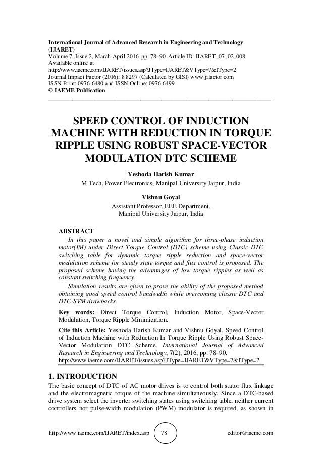 SPEED CONTROL OF INDUCTION MACHINE WITH REDUCTION IN TORQUE RIPPLE US…