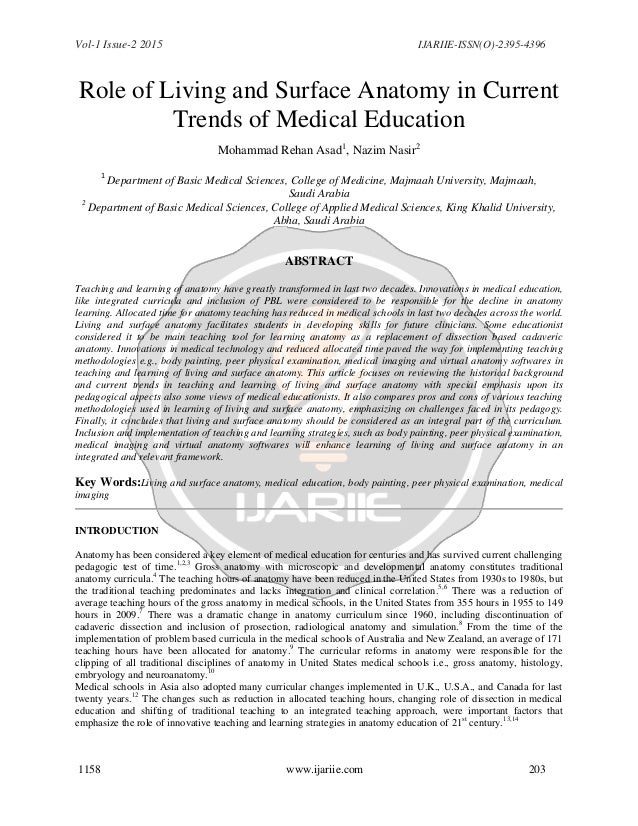 Role of Living and Surface Anatomy in Current Trends of Medical Educa…