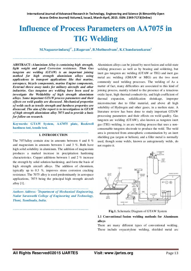 tig welding optimization The research paper published by ijser journal is about parametric optimization of tig welding parameters using taguchi method for dissimilar joint (low carbon steel with aa1050).