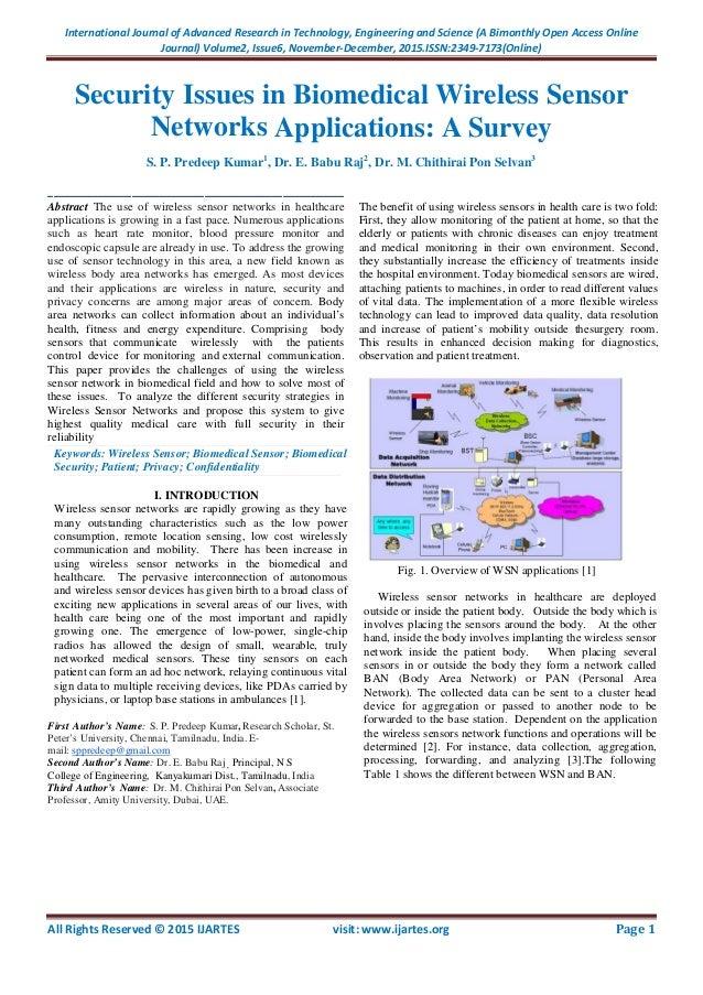 Wireless sensors networks security essay