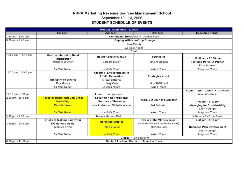 NRPA Marketing Revenue Sources Management School                                                           September 10 - ...
