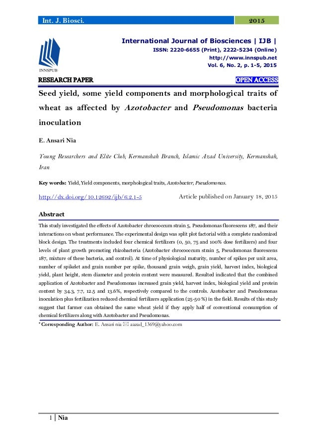 1 Nia Int. J. Biosci. 2015 RESEARCH PAPER OPEN ACCESS Seed yield, some yield components and morphological traits of wheat ...