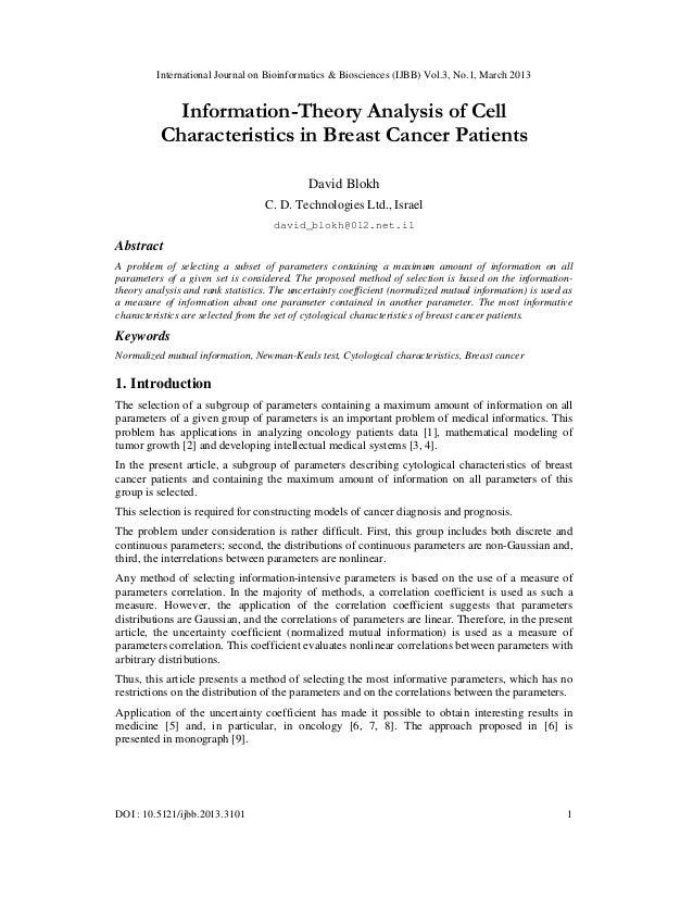 International Journal on Bioinformatics & Biosciences (IJBB) Vol.3, No.1, March 2013            Information-Theory Analysi...