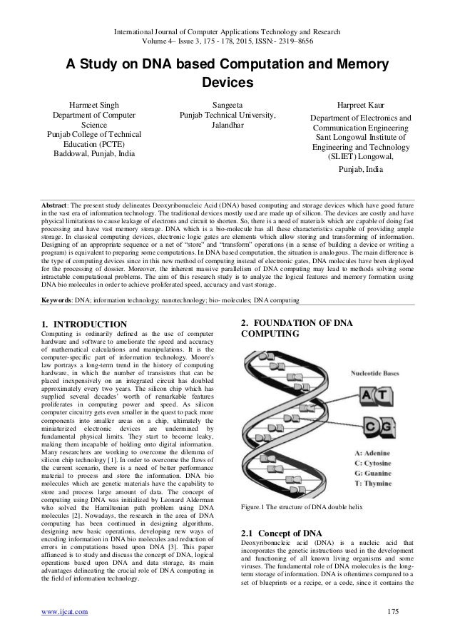 A study on dna based computation and memory devices international journal of computer applications technology and research volume 4 issue 3 malvernweather Choice Image