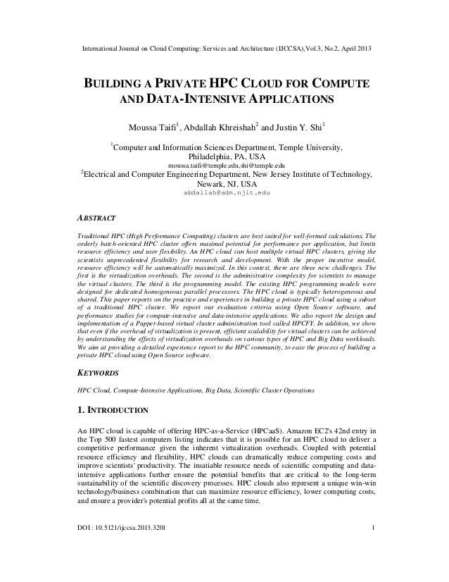 International Journal on Cloud Computing: Services and Architecture (IJCCSA),Vol.3, No.2, April 2013DOI : 10.5121/ijccsa.2...
