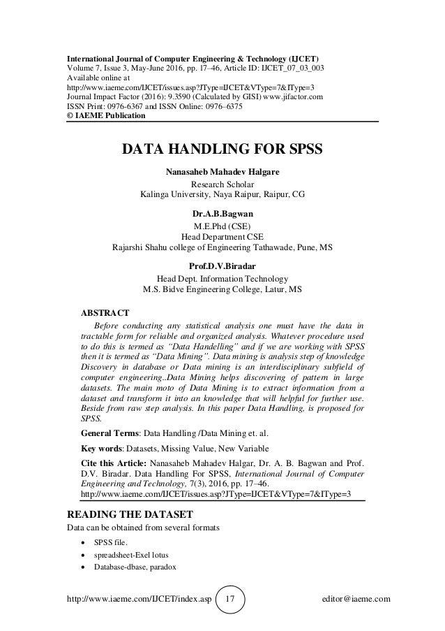 DATA HANDLING FOR SPSS