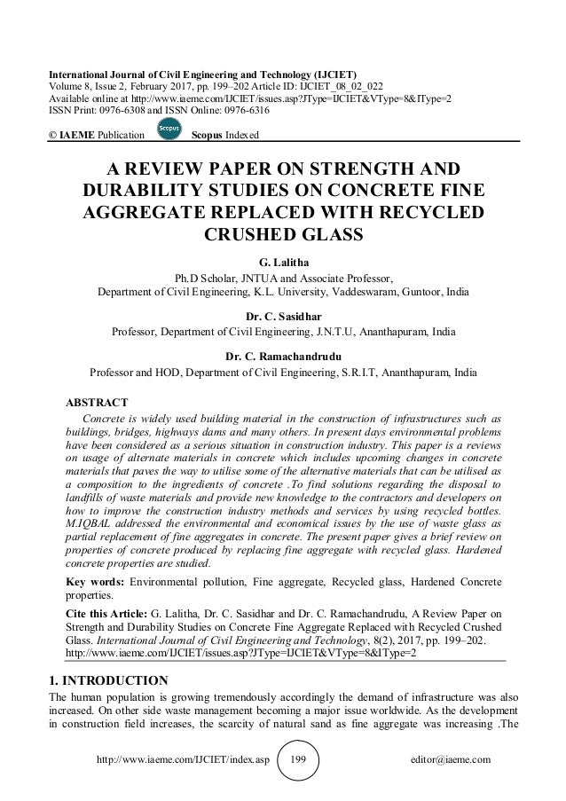 recycled aggregate thesis In this paper, a detailed investigation is conducted to analyze the relationships between the mechanical properties of recycled aggregate concrete (rac) based on a large number of experimental results published worldwide in literature from 1985 to 2004, an experimental database is developed with regard to the main.