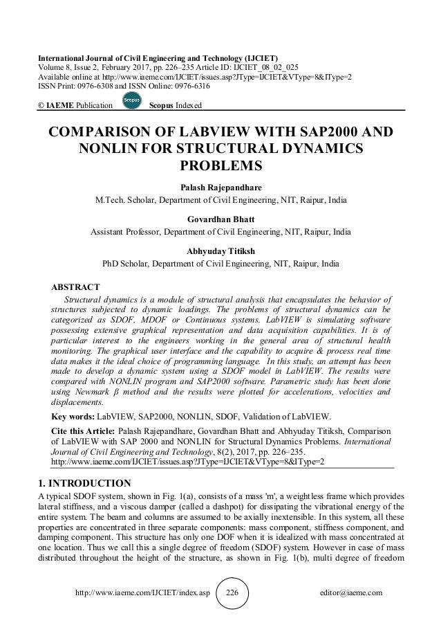 COMPARISON OF LABVIEW WITH SAP2000 AND NONLIN FOR STRUCTURAL DYNAMICS…