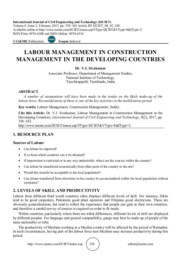 Labour Management In Construction Management In The Developing Countr