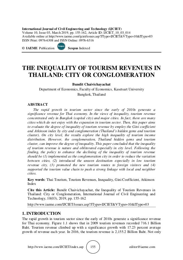 THE INEQUALITY OF TOURISM REVENUES IN THAILAND: CITY OR CONGLOMERATION