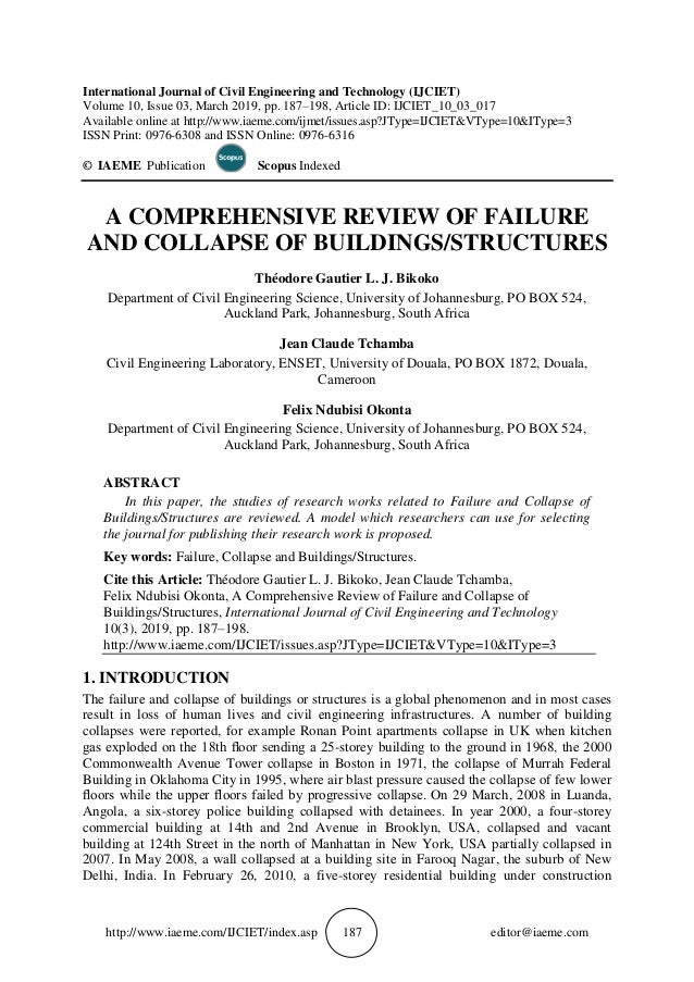 A COMPREHENSIVE REVIEW OF FAILURE AND COLLAPSE OF BUILDINGS