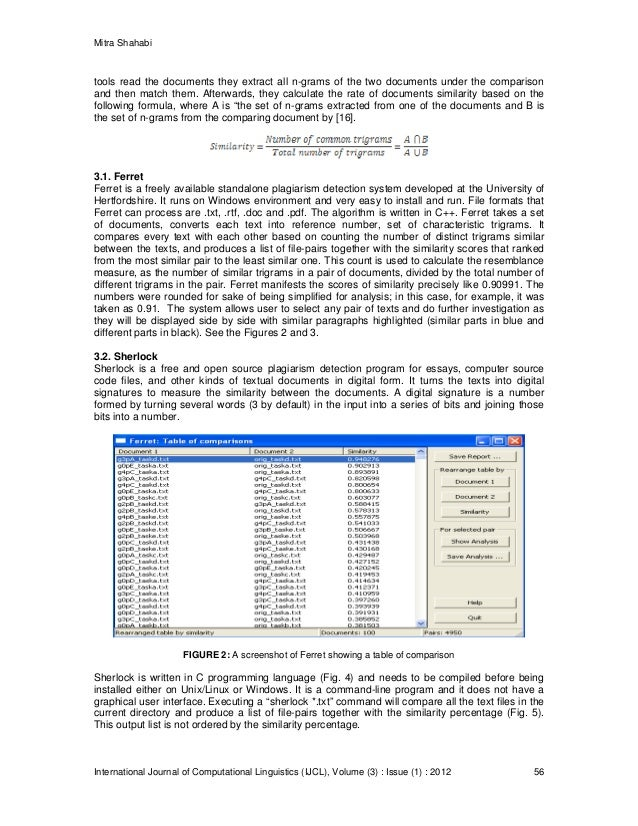 comparing three plagiarism tools ferret sherlock and turnitin 4