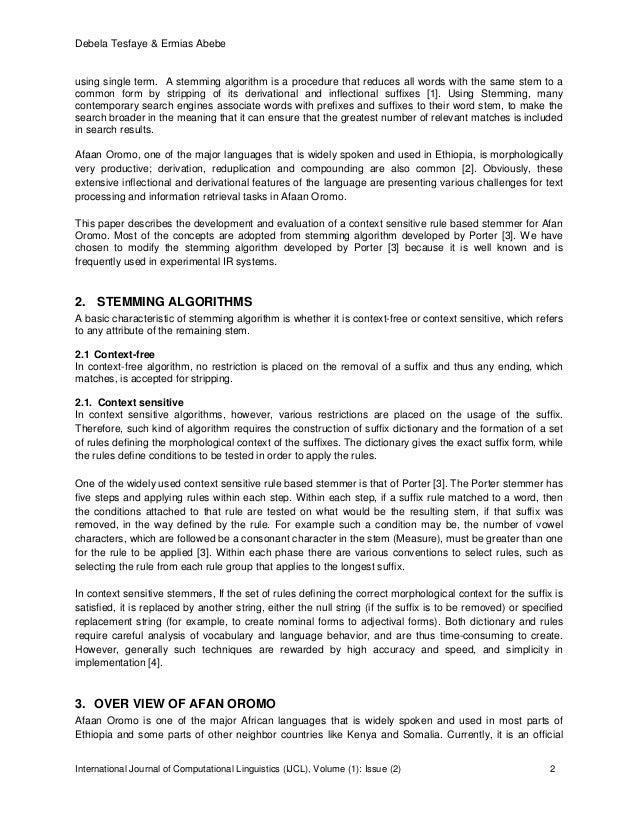 Designing a Rule Based Stemmer for Afaan Oromo Text Slide 2