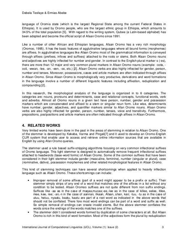 Designing a Rule Based Stemmer for Afaan Oromo Text Slide 3