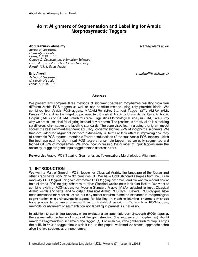 Abdulrahman Alosaimy & Eric Atwell International Journal of Computational Linguistics (IJCL), Volume (9) : Issue (1) : 201...