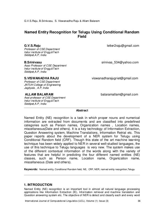 Named Entity Recognition for Telugu Using Conditional Random Field