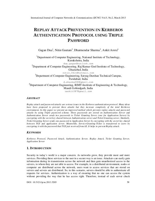 International Journal of Computer Networks & Communications (IJCNC) Vol.5, No.2, March 2013           REPLAY ATTACK PREVEN...