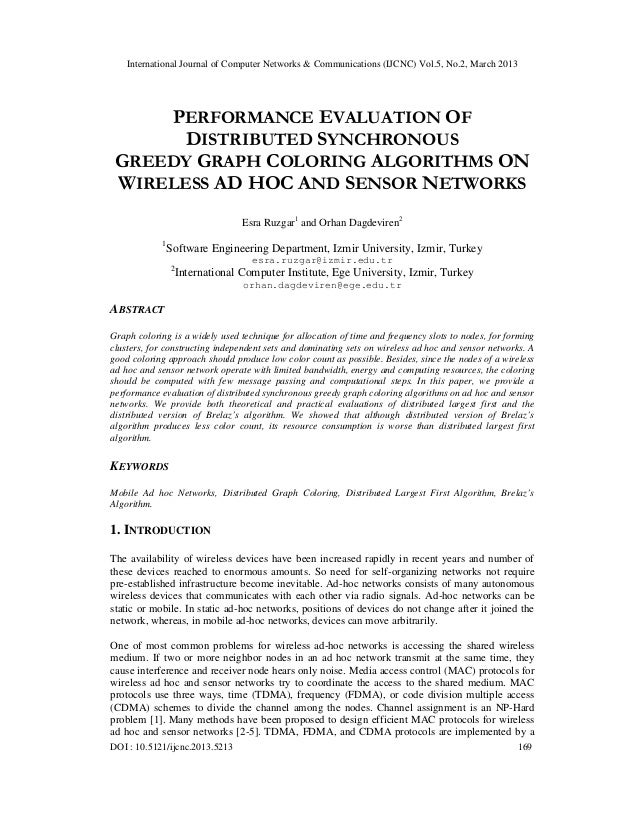 International Journal of Computer Networks & Communications (IJCNC) Vol.5, No.2, March 2013     PERFORMANCE EVALUATION OF ...