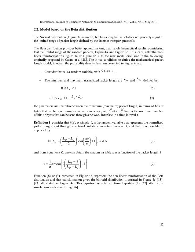 Probability Density Functions of the Packet Length for