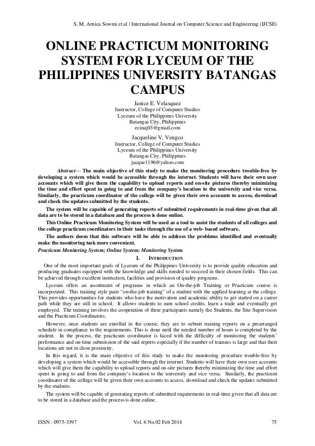 ONLINE PRACTICUM MONITORING SYSTEM FOR LYCEUM OF THE PHILIPPINES UNIVERSITY BATANGAS CAMPUS Janice E. Velasquez Instructor...