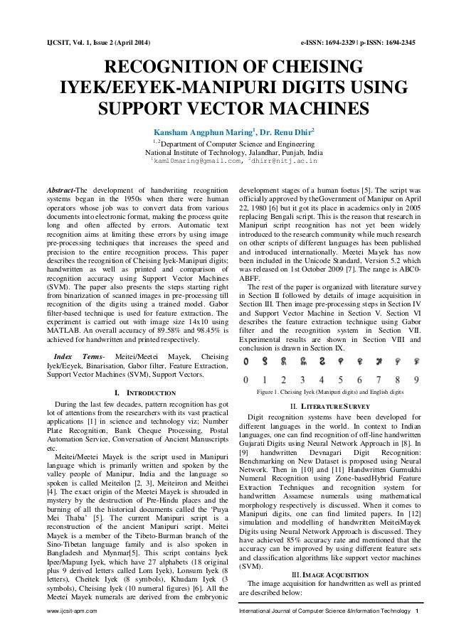 www.ijcsit-apm.com International Journal of Computer Science &Information Technology 1 IJCSIT, Vol. 1, Issue 2 (April 2014...